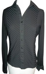 Studio Y Button Front Striped Collar Cuffs Top Black