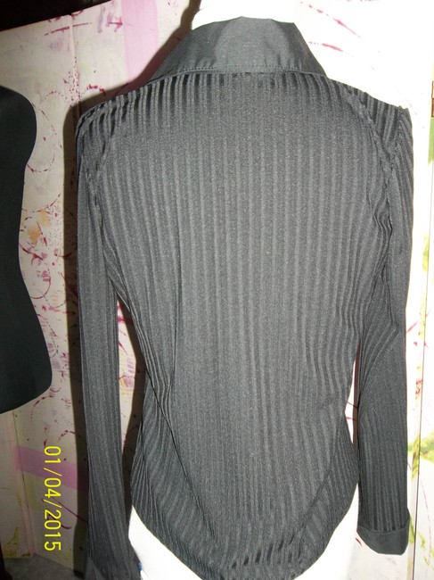 Studio Y Button Front Striped Collar Cuffs Top Black Image 3