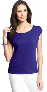 Ann Taylor Cap Sleeve Ponte Top Purple
