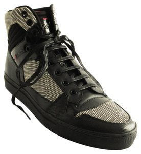 Hugo Boss Men Hightop Sneakers Leather Black Flats