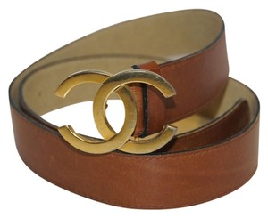 Chanel Chanel Gold CC Buckle Brown Leather Belt