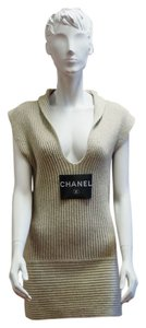 Chanel Cruise 2008 Ribbed Cashmere Sleeveless Plunge Sweater Designer Dress Tunic