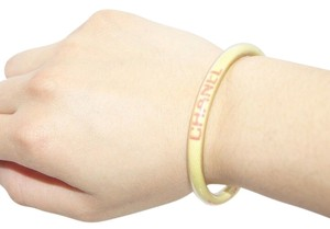 Chanel *DOUBLE LISTED* Authentic Chanel Yellow Pink Rope Clear Rubber Women's Bracelet Band Snap