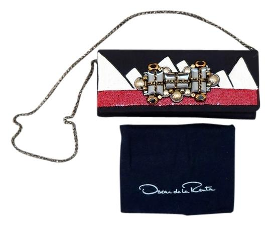 Oscar de la Renta Jewel Sequin Embellished Chain Evening Signer Purse Black, Red, White Clutch