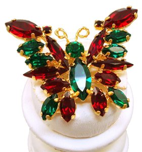 Vintage Red & Green Rhinestone Butterfly Pin