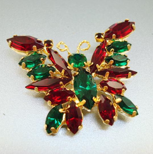 Other Vintage Red & Green Rhinestone Butterfly Pin