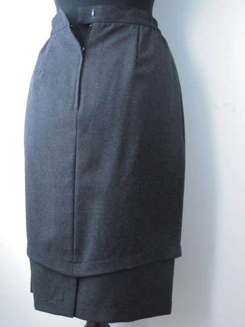 Other Wool Fall Winter Pencil Tiered Chic Elegant Timeless Date Night Christmas Gifts Party All Rick Owens Skirt Dark Grey