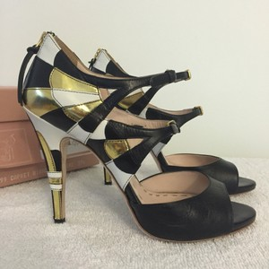 Miu Miu Geometric Metallic White, gold, black Pumps