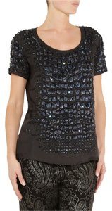 Roberto Cavalli Sequin Embellished Top Black and Navy