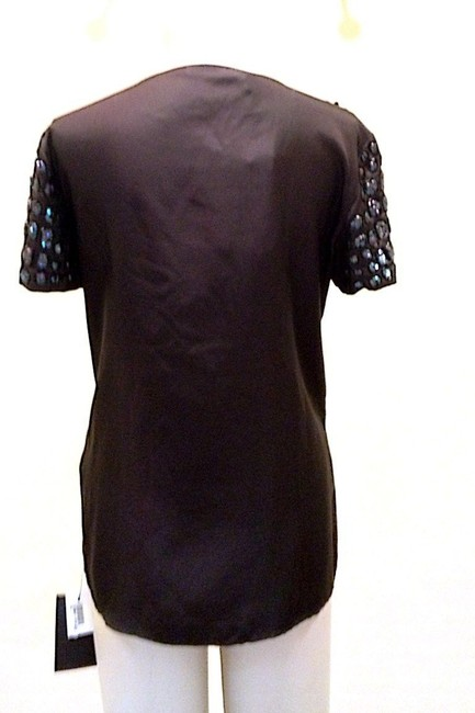 Roberto Cavalli Sequin Embellished Silk Twill Short Sleeve New Designer Top Black and Navy
