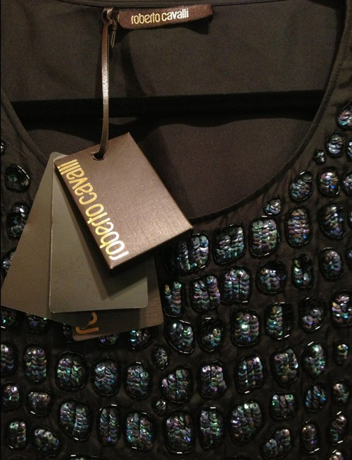 Roberto Cavalli Sequin Embellished Top Black and Navy Image 2