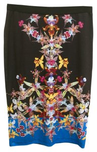 Clover Canyon Black Pencil Orchids Skirt multi colored