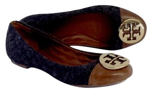 Tory Burch Reva Wool Leather Logo Flats