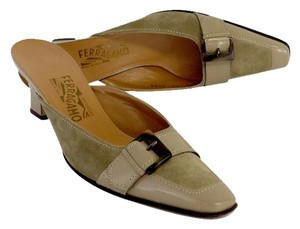 Salvatore Ferragamo Tan Suede Slide Heels Sandals