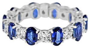 Avi and Co 4.75 cttw Round Cut Diamond and Oval Cut Sapphire Eternity Band 18K White Gold