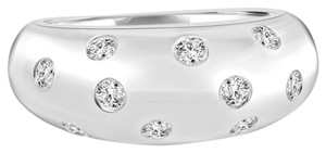 Avi and Co 0.42 cttw Round Brilliant Cut Diamond Domed Wedding Band 18K White Gold