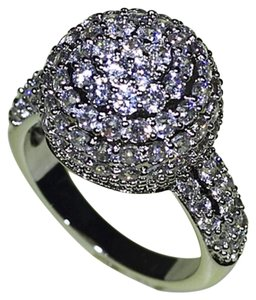 9.2.5 unique white sapphire cluster ball cocktail ring size 7