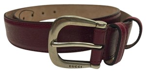 Gucci Gucci 295336 Red Leather Belt Gucci Logo Buckle Size 34