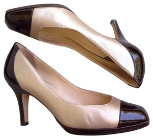 Cole Haan Metallic Patent Leather Taupe Gold Brown Pumps