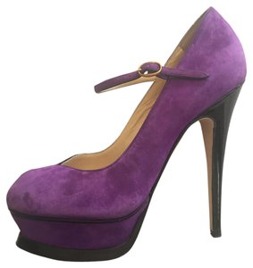 YSL Yves Saint Laurent Suede Tribute Mary Jane Heels Violet Platforms