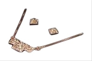 Vince Camuto VINCE CAMUTO CRYSTAL PAVE PYRAMID ROSE GOLD-TONE NECKLACE & EARRING SET