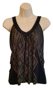 Silence + Noise Graphic Printed Sleeveless V-neck Top Navy/Gold