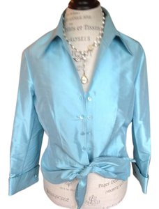 Carlisle Elegant Silk Top Light Blue