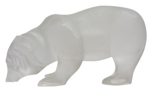 Lalique Signed Froster Clear Crystal Polar Bear French 7 1/2 Art Sculpture
