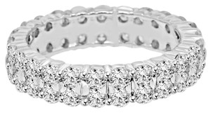 Avi and Co 3.15 cttw Round Diamond Double Row Eternity Wedding Band 14K White Gold