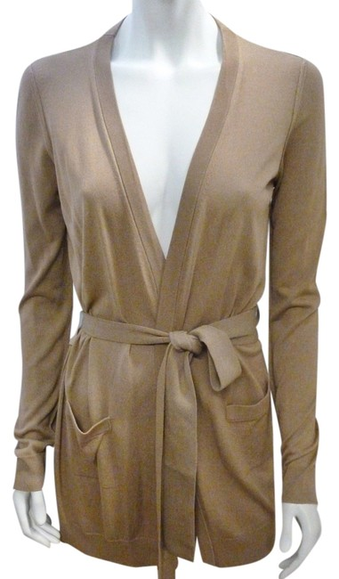 Item - Khaki Sand 42 Beige Belted Long Sleeve Small Cardigan Size 6 (S)