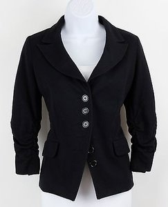INC International Concepts Black Ruched 34 Sleeve Jacket