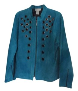 Victor Costa Turquoise Leather Jacket