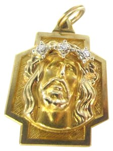 14KT SOLID YELLOW GOLD PENDANT 3 ZIRCON 3.5 GRAMS JESUS HEAD CROSS RELIGIOUS