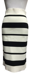 BCBGMAXAZRIA Bandage Straight Skirt Off White/Black