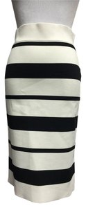 BCBGMAXAZRIA Striped Bandage Skirt White/Black