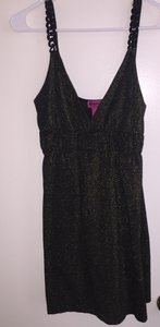 Demanding Gold Sparkles Dressy Top Black