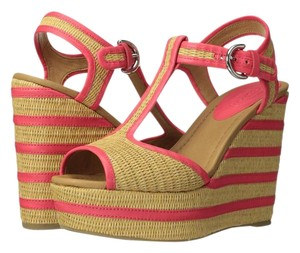 Coach Natural Straw/Bright Coral Semi Matte Calf Wedges
