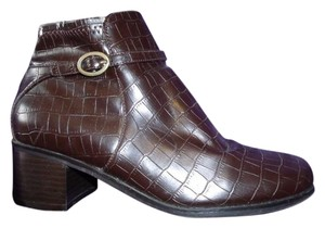 LifeStride Ankle Faux Alligator Patent Buckles Scorpio Dark Brown Boots