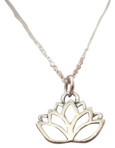 Lotus Flowers Necklace, NEW Namaste Yoga Charm in Silver