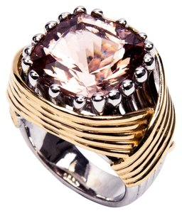 10.65 Carat Solitaire Cushion Pink Morganite Gold Ring