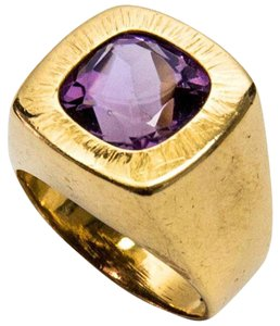 Cushion Cut Amethyst Gold Ring