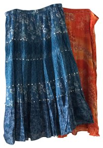Coldwater Creek Long Cotton Rayon Maxi Skirt Blue / Orange