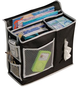 Richards Homewares Richards Homewares Black Gearbox 6-Pocket Bedside Storage Caddy