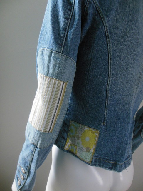 Plugg Cropped Rivet Button Stretchy Patched Blue White Womens Jean Jacket
