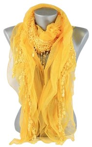 Lace Accent Boho Chic Yellow Scarf