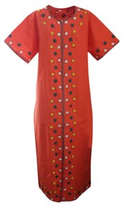 Orange and Multi-color Embroidery Maxi Dress by Handmade Cultural Ethnic Dress New Without Tags