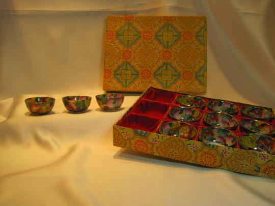 Other 12-Porcelain Dipping Sauce Bowls; Golden Chinese Butterfly Star Blossom - [ Roxanne Anjou Closet ]