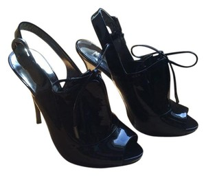 Marciano Peep Toe Leather Black Boots