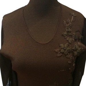 Anne Klein Top BLACK with BLACK FLORAL APPLICATION