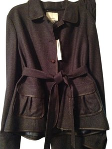 Façonnable Faconnable 2Pc 100% Wool Tailored Pantsuit Trimmed in Leather
